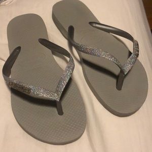 Gray and silver Sparkly Havaianas Flip Flops - 6
